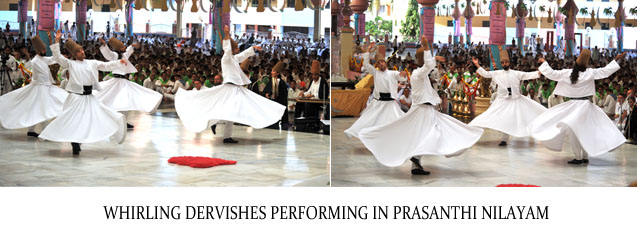Whirling Dervishes performing in Prasanthi Nilayam